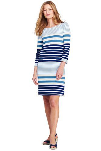 Women's 3-quarter Sleeve Striped Ponte Dress