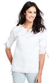 Women's Poplin 3/4 Tie Sleeve Shirt