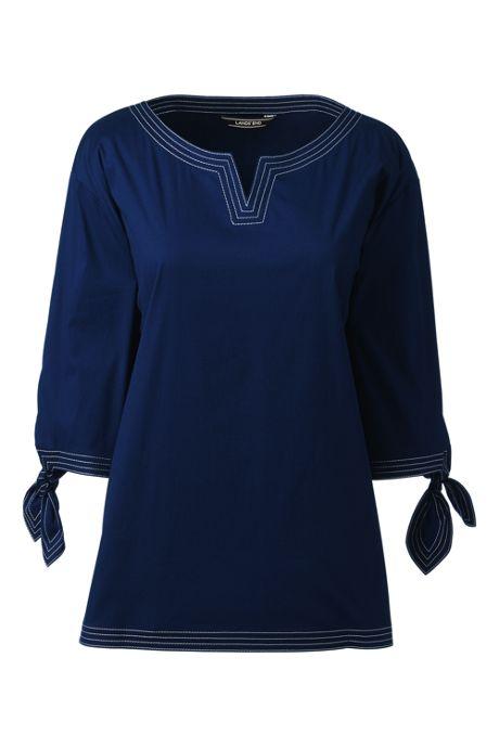 Women's Petite Poplin 3/4 Tie Sleeve Shirt