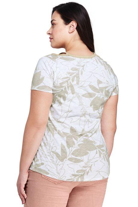 Women's Plus Size Floral Short Sleeve Double Binding V-Neck T-Shirt