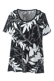 Women's Plus Size Floral Short Sleeve Double Binding V-Neck T-Shirt
