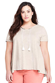 e5c169c6aca Women s Plus Size Tassle Short Sleeve V-Neck T-Shirt