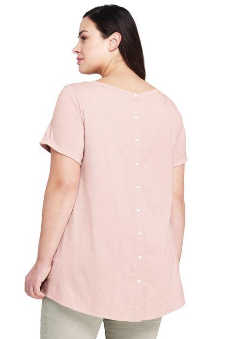 Women's Plus Size Short Sleeve Button Back Scoop Neck T-Shirt