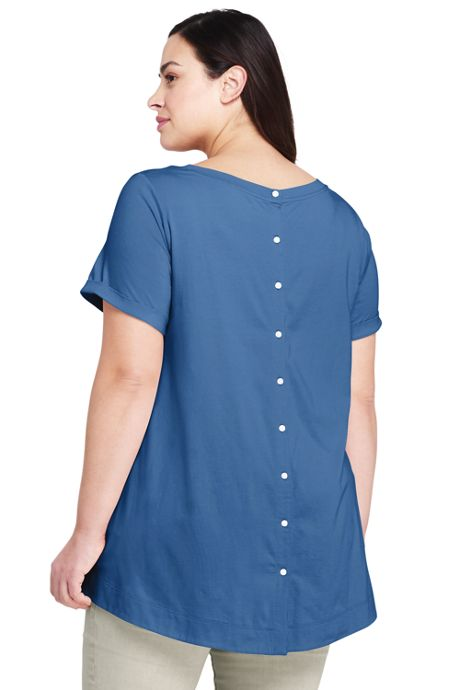 Women's Plus Size Short Sleeve Button Back Scoop Neck T-Shirt