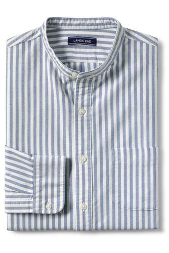 Men's Striped Grandad Collar Oxford Shirt