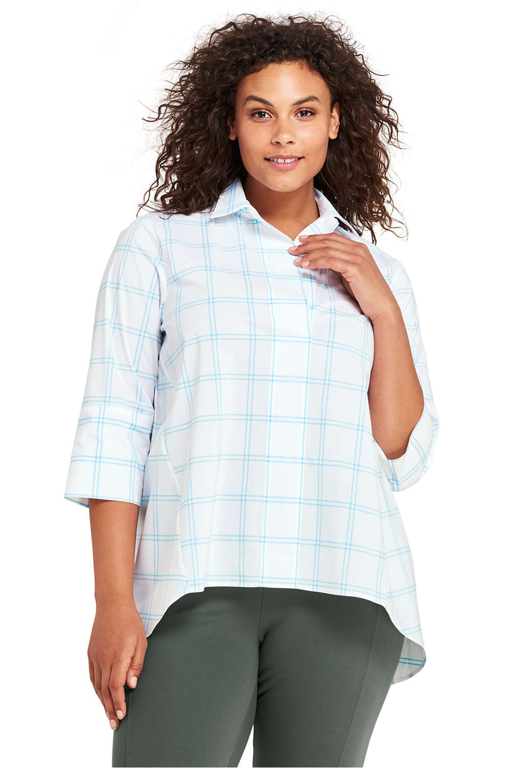 a5f8ff3bfd3 Women s Plus Size Poplin Popover Top from Lands  End