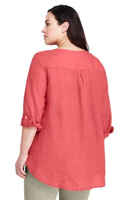 Women's Plus Size Linen Roll Sleeve Tunic