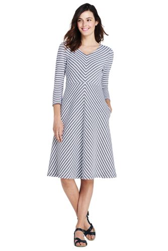 Women's Jersey Stripe Dress with 3-quarter Sleeves