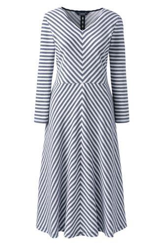 Women's Jersey Stripe Dress with 3-quarter Sleeves