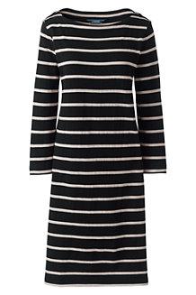 Gestreiftes Baumwoll-Shirtkleid mit 3/4-Ärmeln für Damen