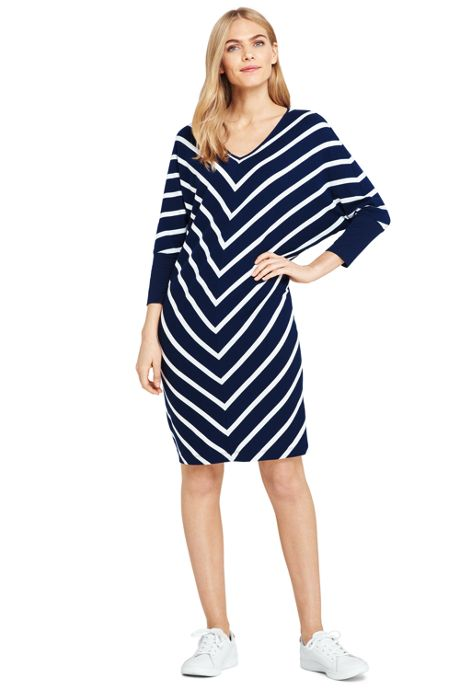 Women's Petite Long Sleeve Knit T-Shirt Dress