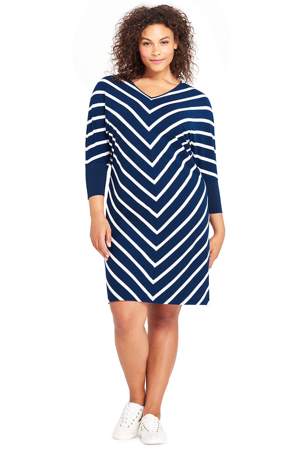Womens Plus Size Long Sleeve Knit T Shirt Dress From Lands End