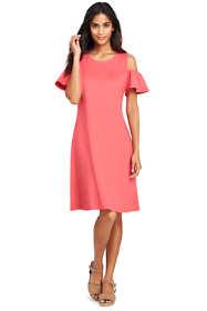 Women's Petite Short Sleeve Ponte Cold Shoulder A-line Dress