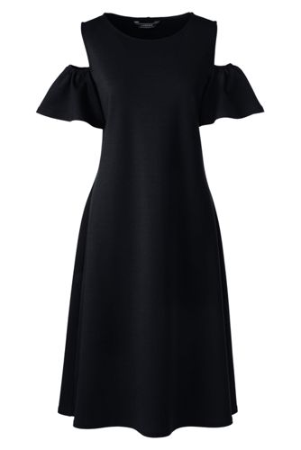 Women's Cold Shoulder A-line Ponte Dress