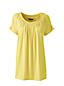 Le T-Shirt à Fronces en Jersey Stretch Manches Courtes, Femme Stature Standard
