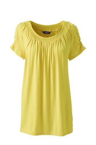 Shirt aus Bambusviskose mit gerafftem Ausschnitt für Damen