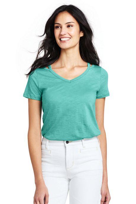 Women's Short Sleeve Double Binding V-Neck T-Shirt