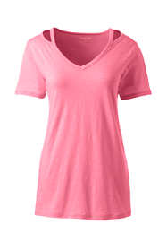 Women's Petite Short Sleeve Double Binding V-Neck T-Shirt