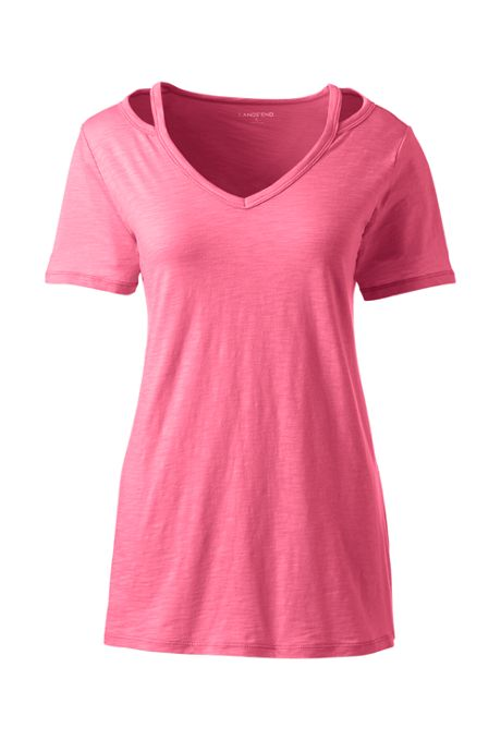 Women's Short Sleeve Double Binding V-Neck T-Shirt