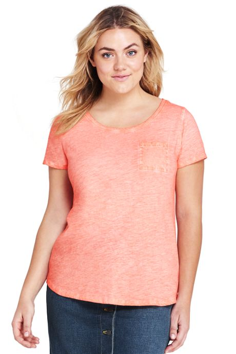 Women's Plus Size Short Sleeve Pocket Crewneck T-shirt