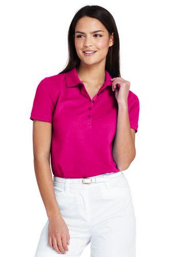 Le Polo en Coton Piqué Stretch et Manches Courtes, Femme Stature Standard