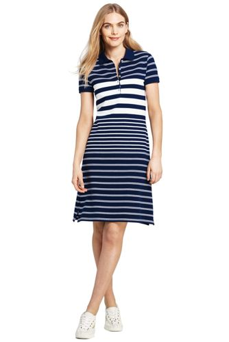 Women's Short Sleeve Stripe Mesh Polo Dress by Lands' End