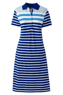 Women's Short Sleeve Stripe Piqué Polo Dress