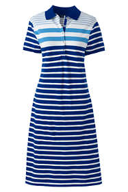 Women's Petite Short Sleeve Stripe Mesh Polo Dress