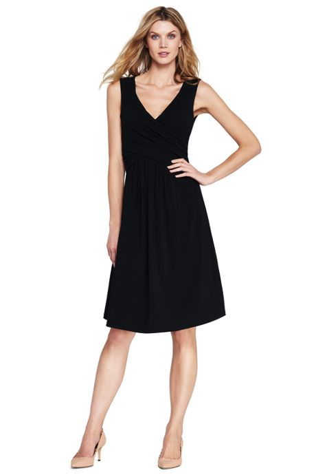 Women's Wrap Front Knee Length Fit and Flare Dress