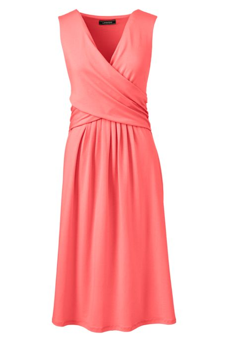 Women's Tall Wrap Front Knee Length Fit and Flare Dress