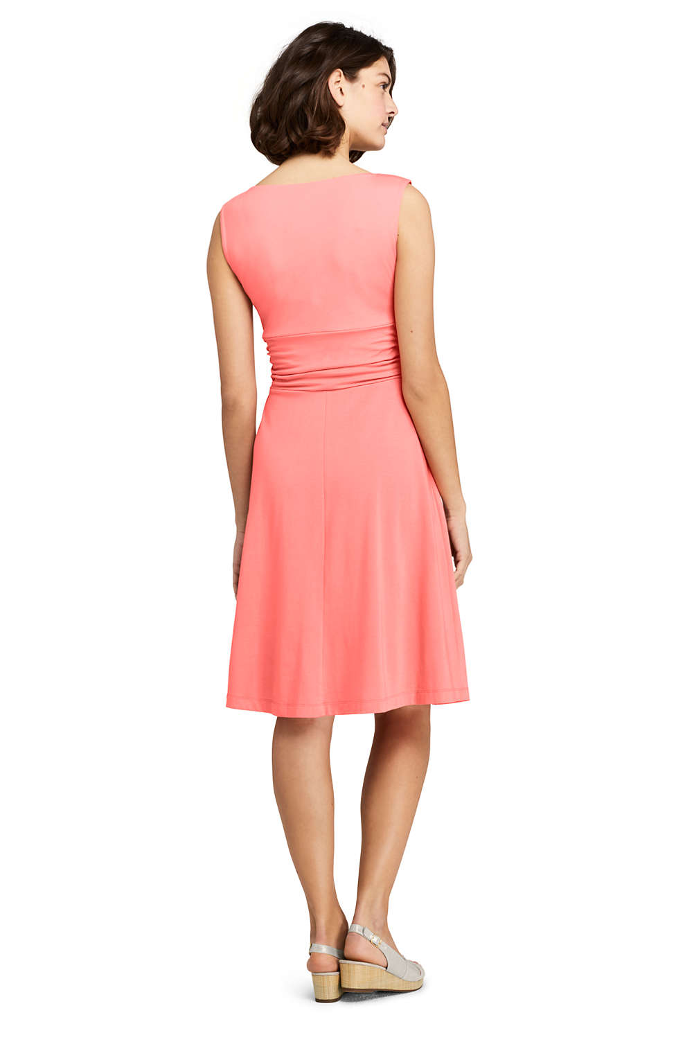 f09704d42ab4 Women s Wrap Front Fit and Flare Dress Knee Length from Lands  End