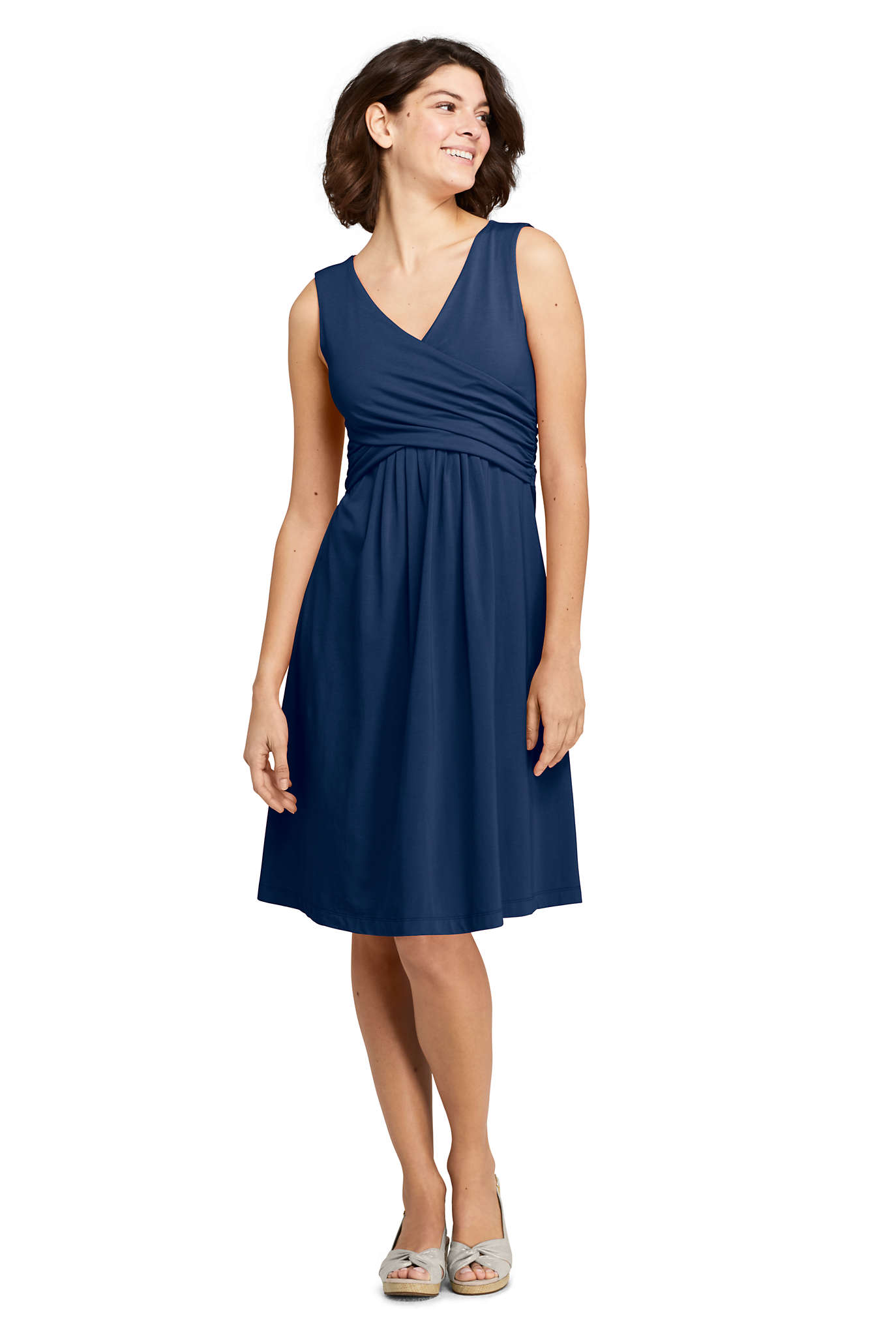 Women's 3/4 Sleeve Knot Front Fit and Flare Dress