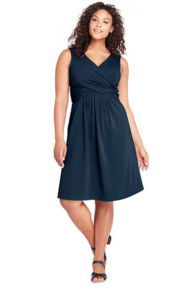 Womens Plus Size Sleeveless Fit And Flare Dress From Lands End