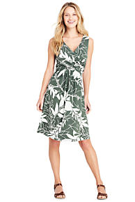 Womens Petite Sleeveless Fit & Flare Patterned Dress - 10 -12 - Green Lands End