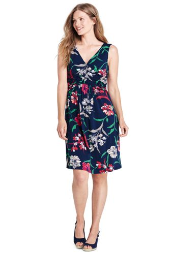 Women S Sleeveless Fit Amp Flare Patterned Dress Lands End