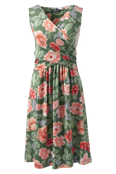Women's Plus Size Wrap Front Knee Length Fit and Flare Dress