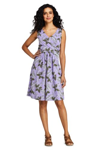 60441edf8ad5 Women s Wrap Front Fit and Flare Dress Knee Length