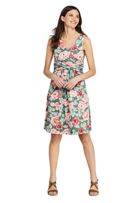 Women's Petite Wrap Front Knee Length Fit and Flare Dress