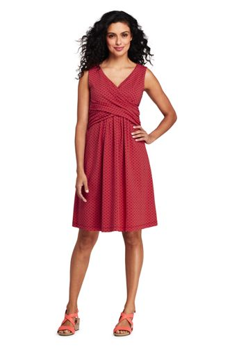e9728482428e Women s Wrap Front Fit and Flare Dress Knee Length