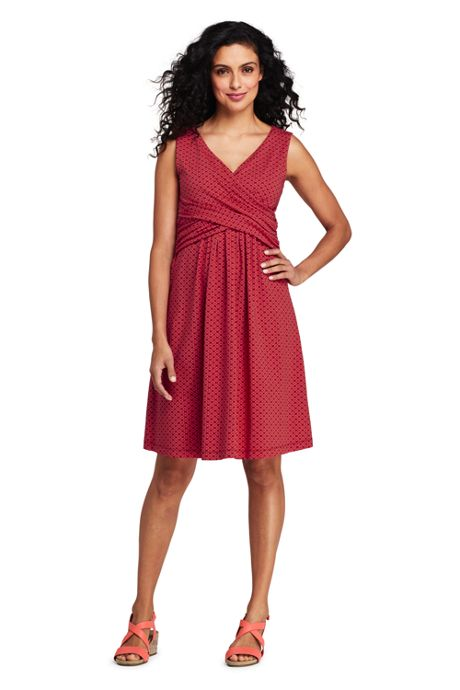 Women's Petite Wrap Front Fit and Flare Dress Knee Length