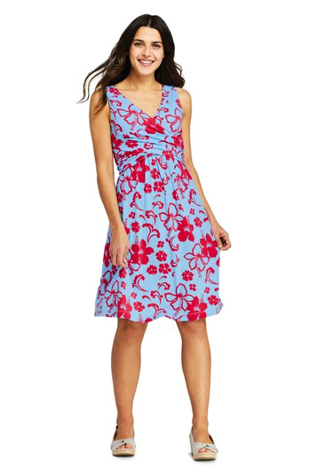 Women's Tall Wrap Front Fit and Flare Dress Knee Length