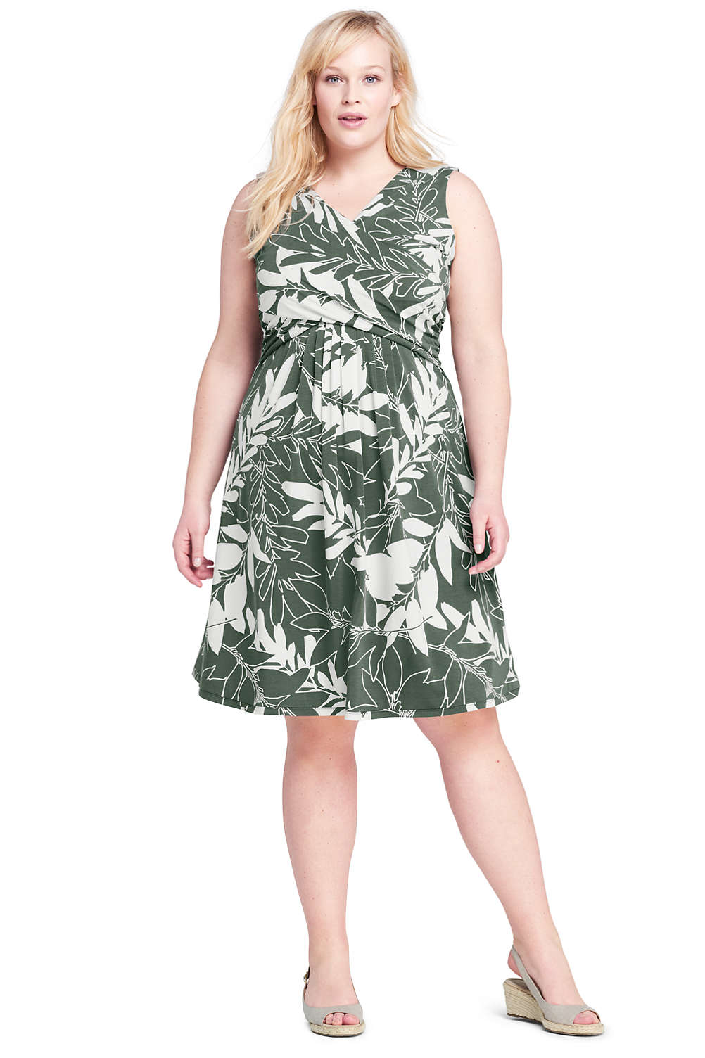 4caa90c8ebe Women s Plus Size Wrap Front Fit and Flare Dress Knee Length. 4