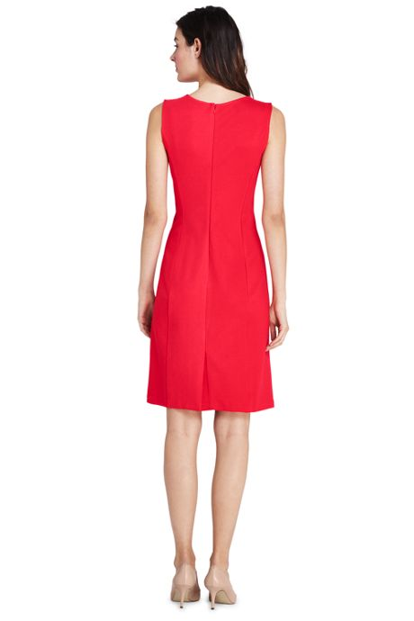 Women's Petite Sleeveless Scoop Neck Ponte Knit Sheath Dress