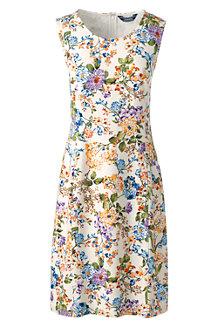 Women's Sleeveless Shift Dress in Print Ponte Jersey