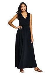 cf4c156bec Women s Sleeveless Knit Flounced Shoulder Maxi Dress from Lands  End