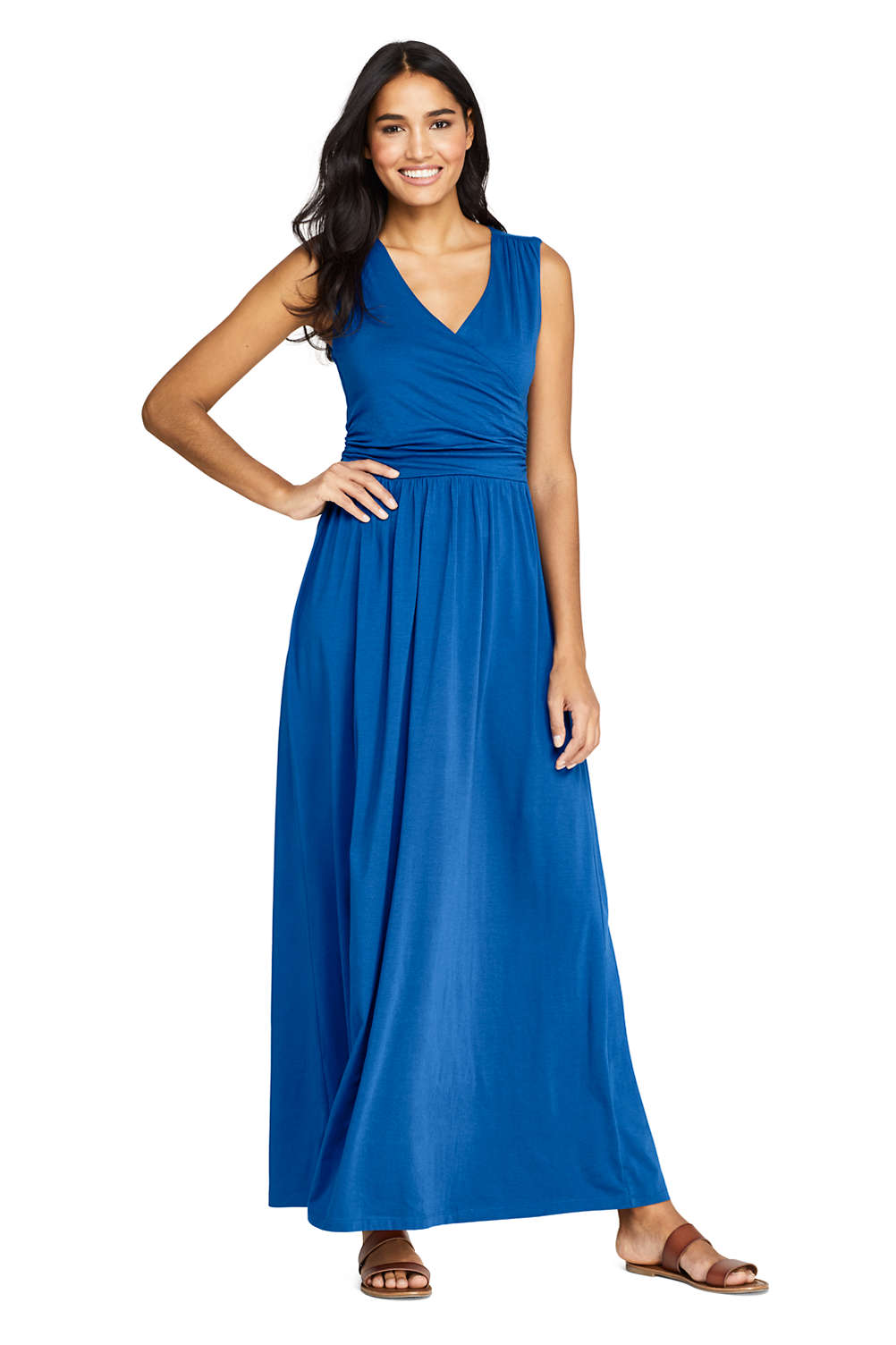 4334d5008938 Women s Sleeveless Knit Surplice Maxi Dress from Lands  End
