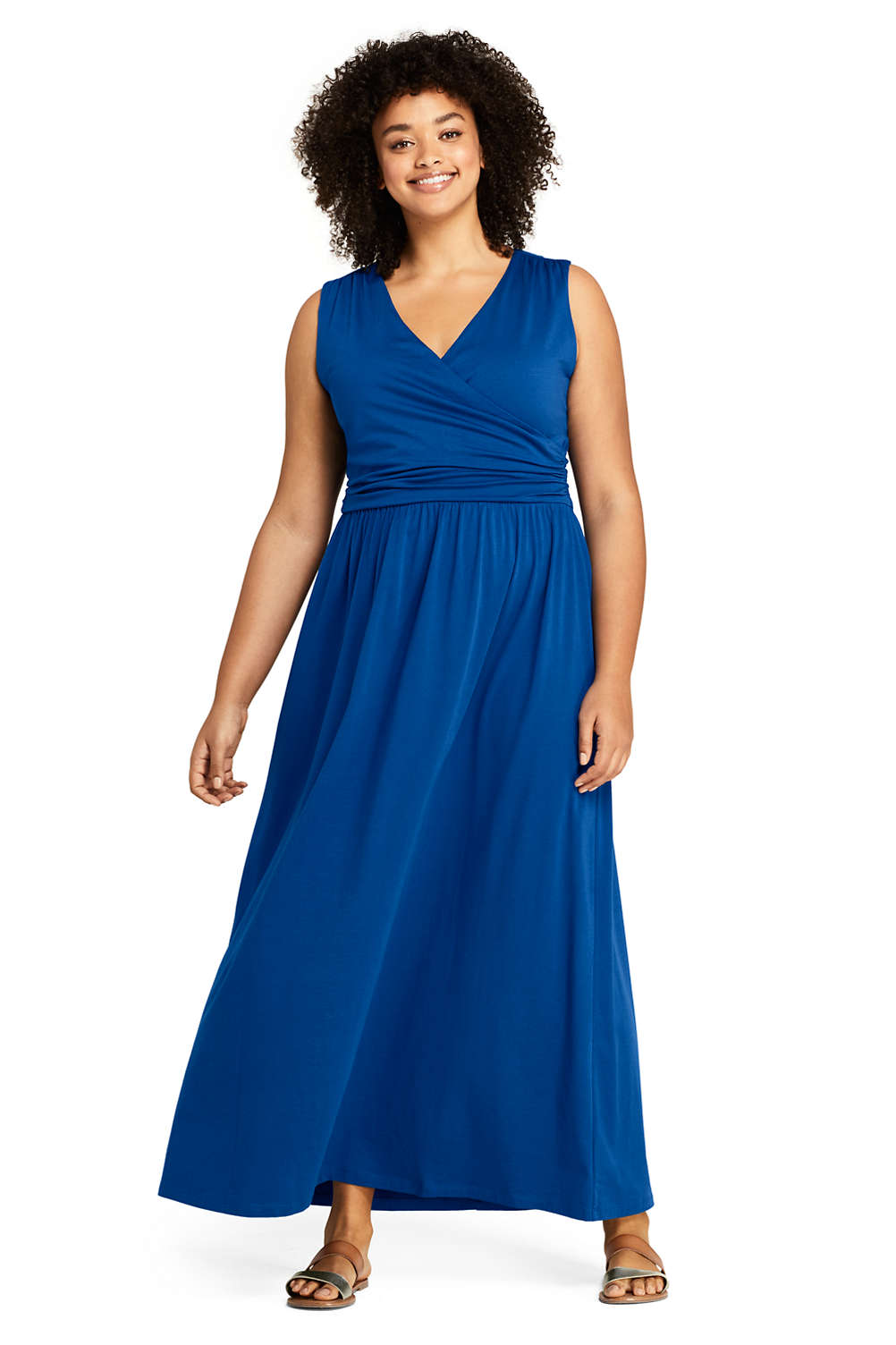 18ab1d7154b Women s Plus Size Sleeveless Knit Surplice Maxi Dress from Lands  End