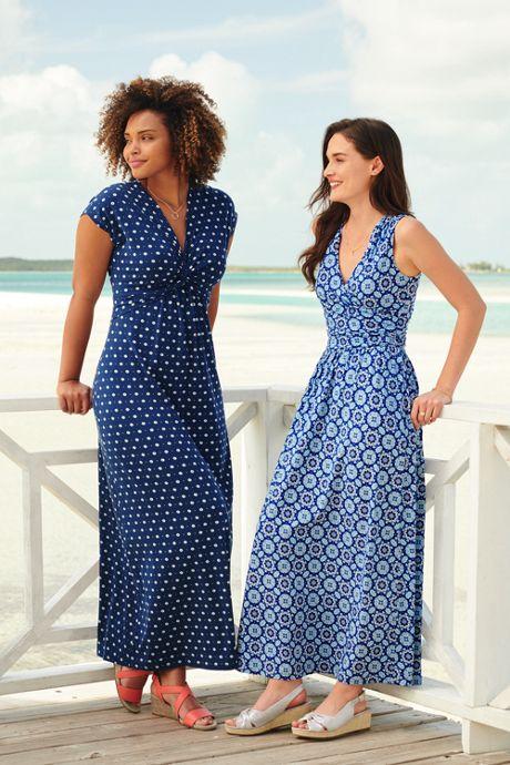 Women's Sleeveless Knit Surplice Maxi Dress