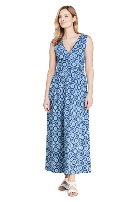 Women's Petite Knit Surplice Sleeveless Maxi Dress