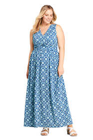Women's Plus Size Knit Surplice Sleeveless Maxi Dress